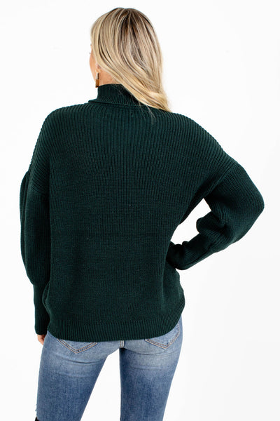 Women's Green Balloon Sleeve Boutique Sweater
