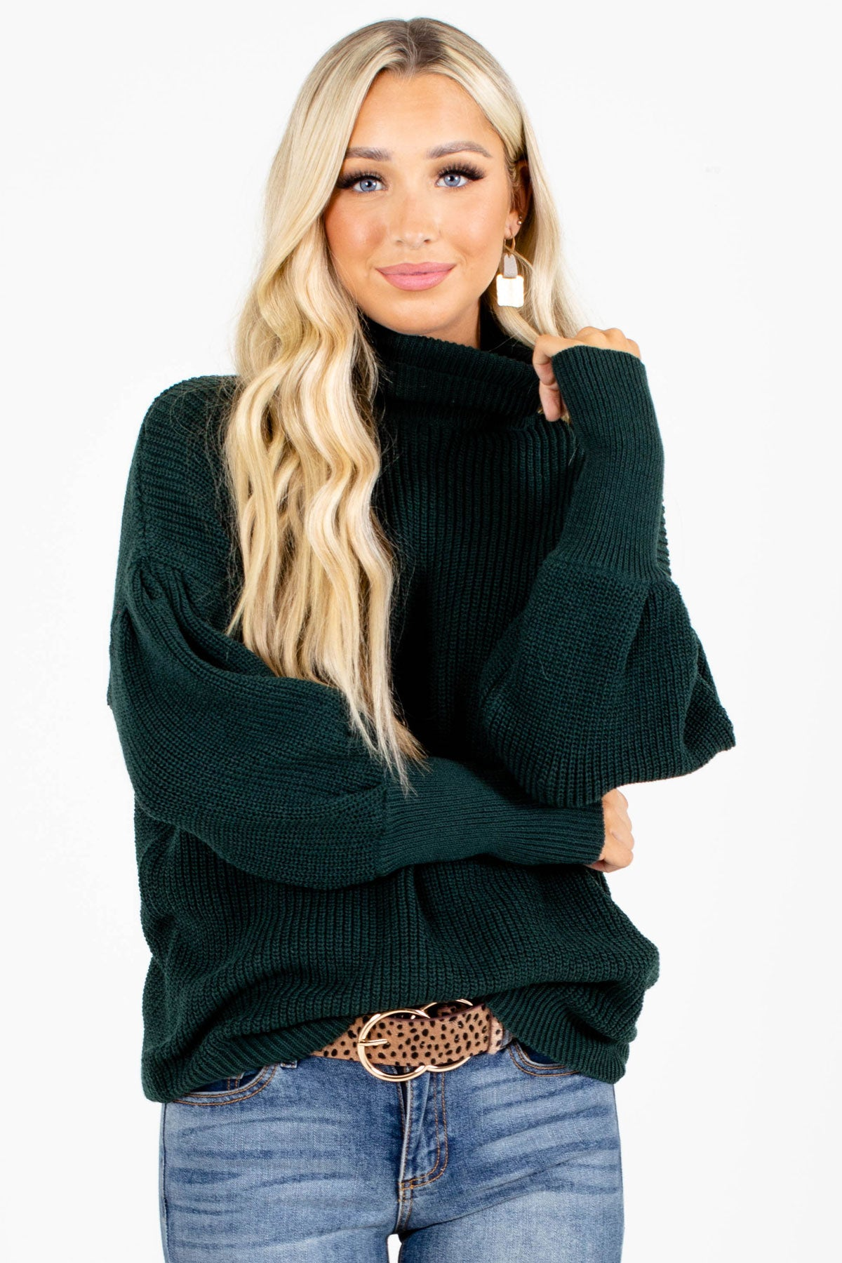 Dark Green Turtleneck Style Boutique Sweaters for Women