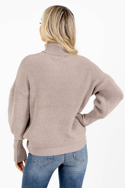 Brown High-Quality Knit Material Boutique Sweaters for Women