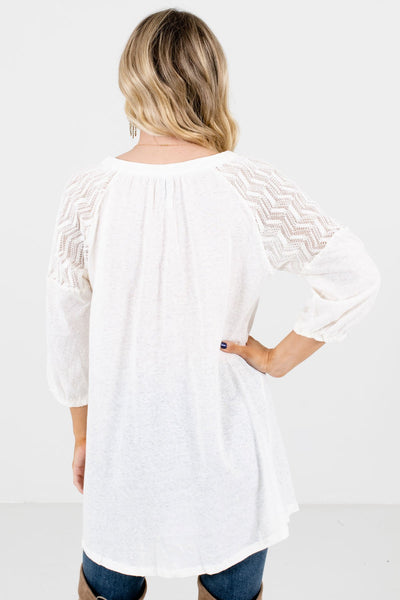 Women's Cream 3/4 Length Sleeve Boutique Tops