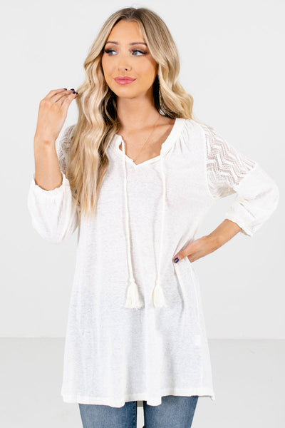 Women's Cream Bohemian Boutique Tops