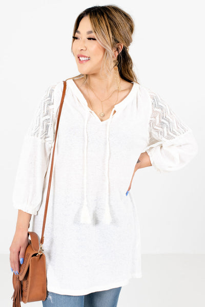 Women's Cream Tassel Tie Boutique Tops