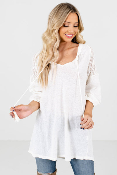 Cream Semi-Sheer Crochet Accented Boutique Tops for Women