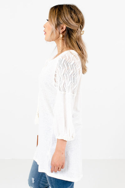 Cream Split V-Neckline Boutique Tops for Women