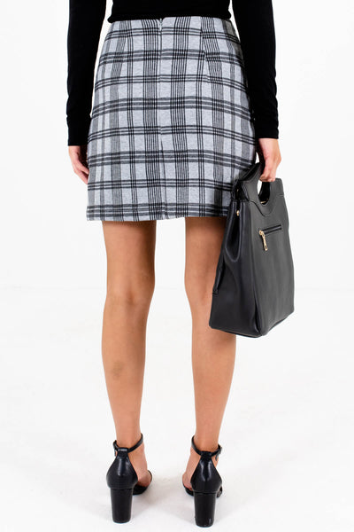 Women's Gray Plaid Back Zipper Boutique Mini Skirt