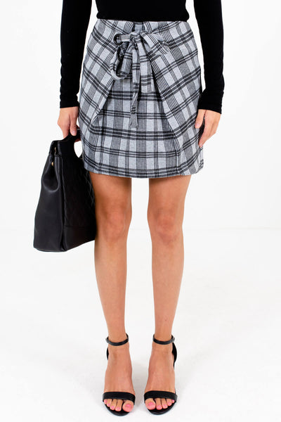 Gray and Black Plaid Patterned Boutique Mini Skirts for Women