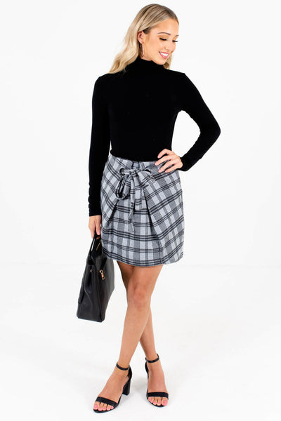 Women's Gray High-Quality Material Boutique Mini Skirt