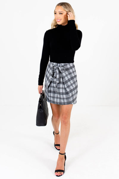 Women's Gray Plaid Business Casual Boutique Mini Skirts
