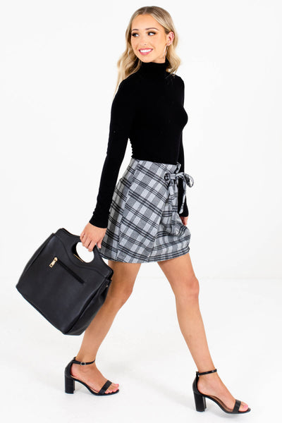 Gray Plaid Cute and Comfortable Boutique Mini Skirts for Women