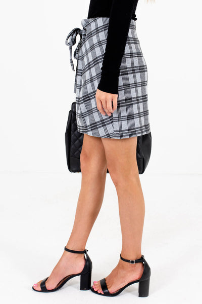 Gray Plaid Tie Front Detail Boutique Mini Skirts for Women