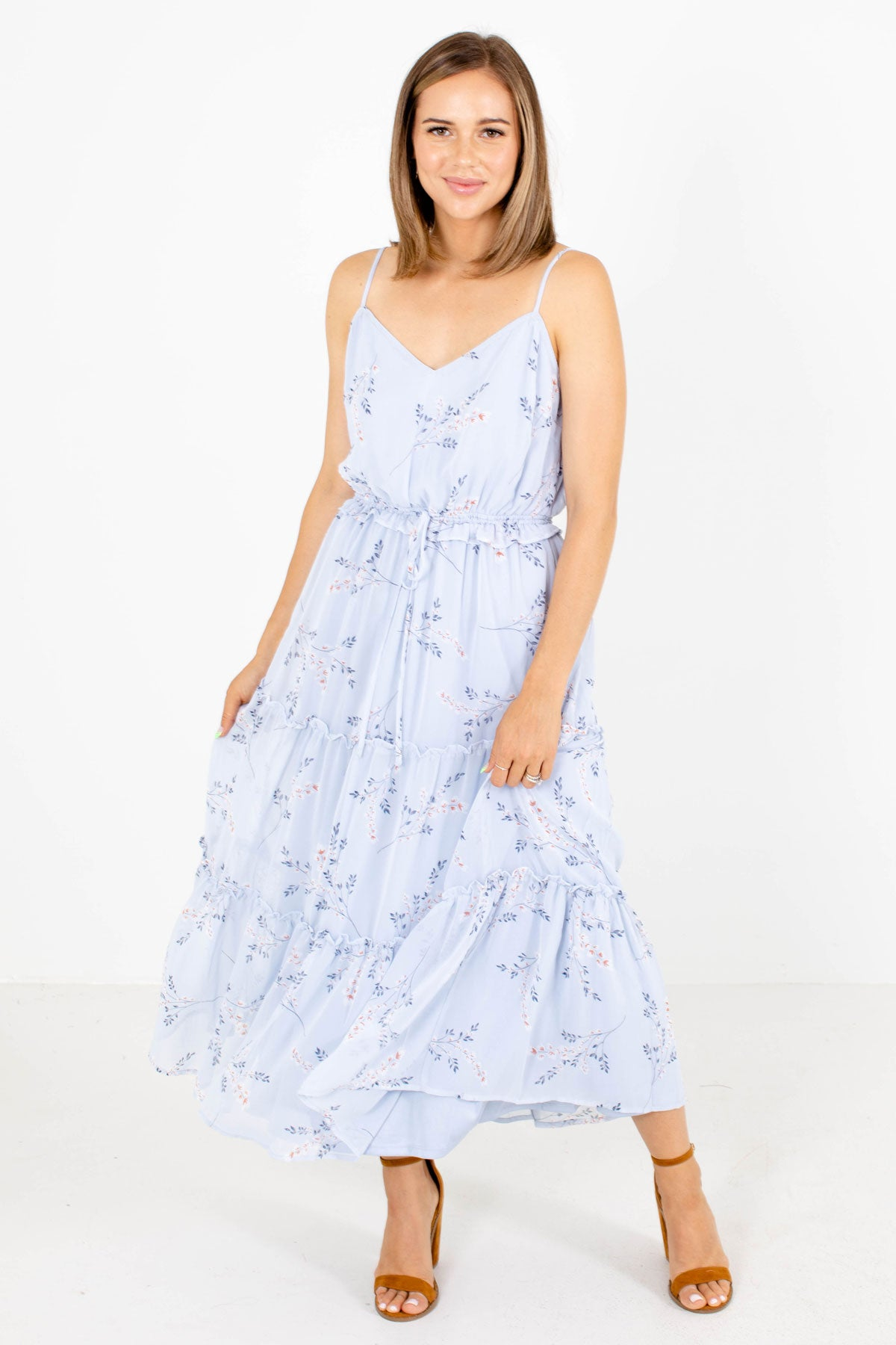 Blue Floral Patterned Boutique Dresses for Women