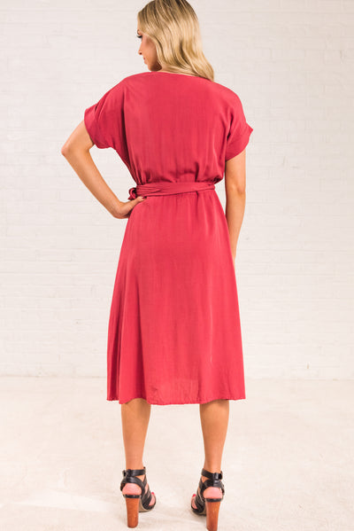 Rust Red Women's Midi Length Boutique Dress