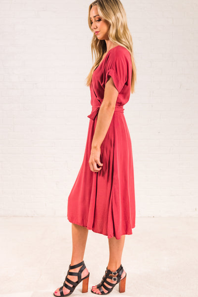 Rust Red Business Casual Boutique Dresses for Women