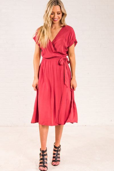 Rust Red Boutique Wrap Dresses for Women