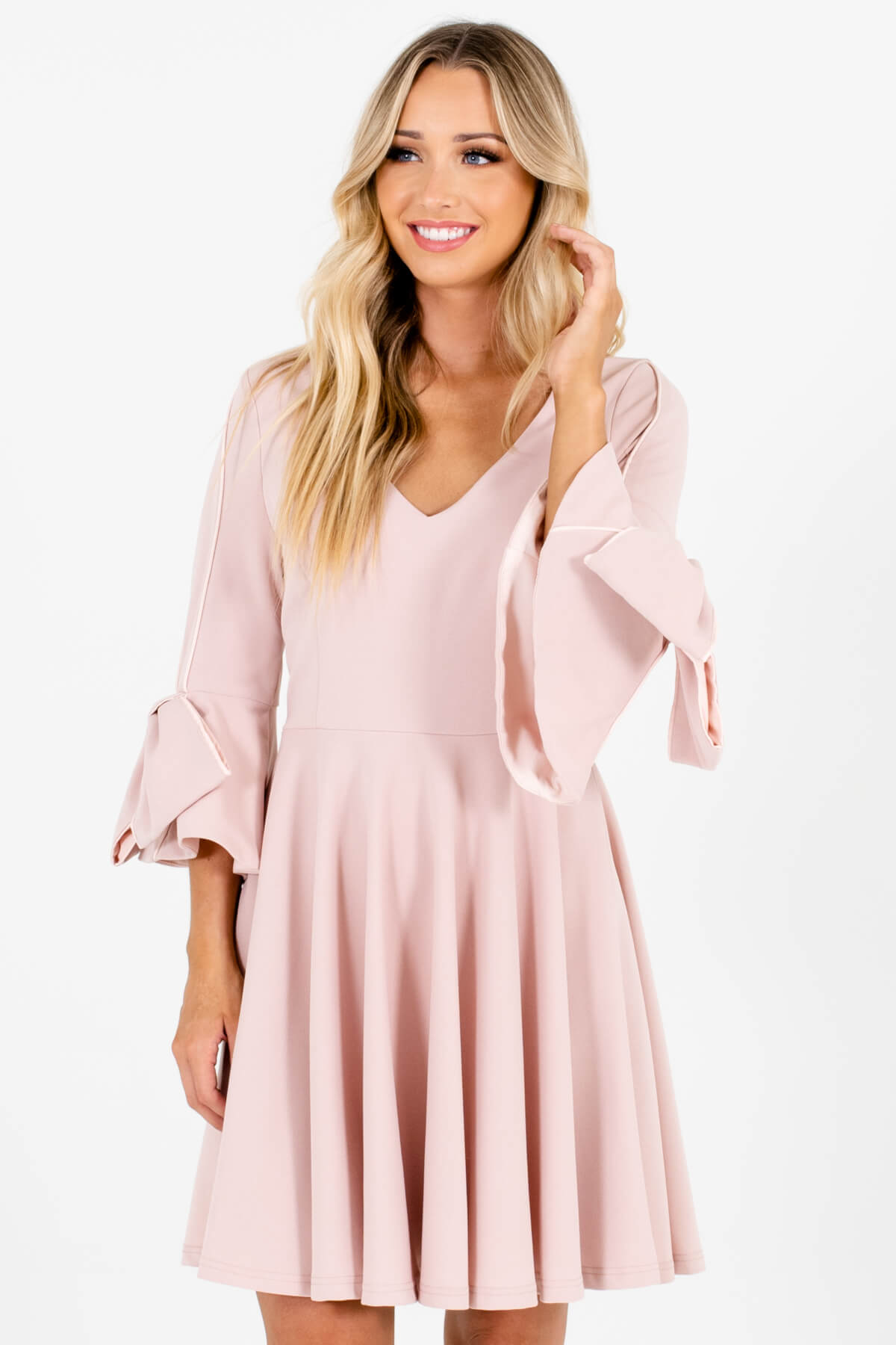 Blush Pink Thick Pleated Bow Sleeve Mini Dresses for Women