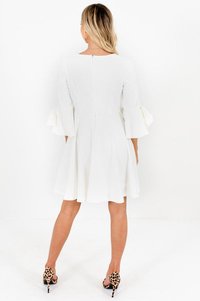 White Thick Pleated Mini Dresses with Flared Bow Sleeves