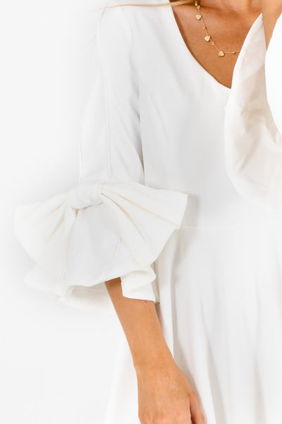 White Pleated Bow Sleeve Mini Dresses Affordable Online Boutique