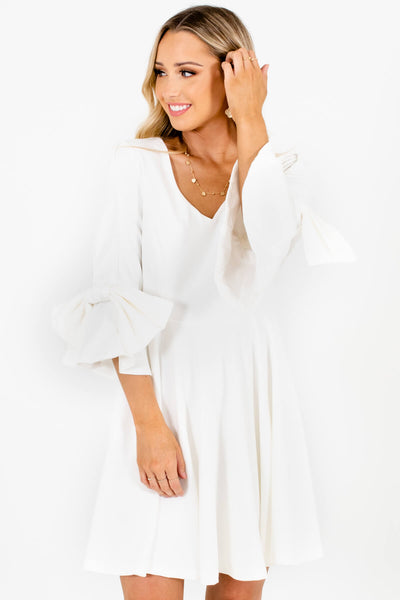 White Bow Sleeve Pleated Mini Dresses Affordable Online Boutique