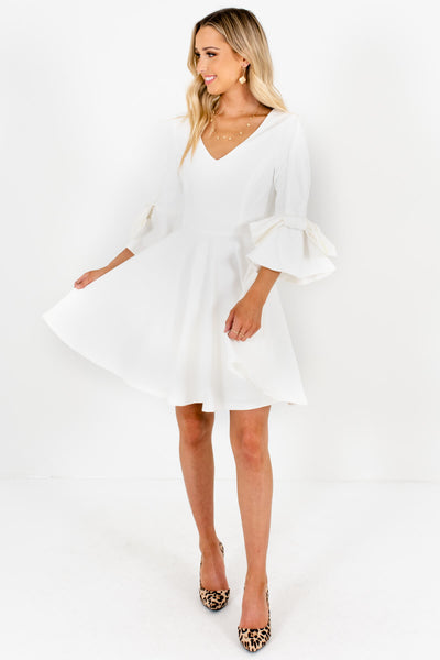 White Thick Pleated Bow Sleeve Mini Dresses for Women