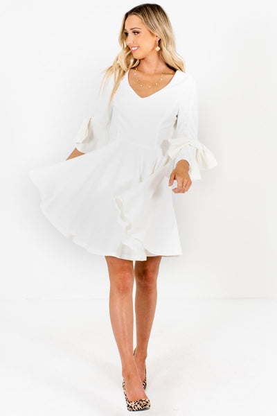 White Bow Sleeve Pleated Boutique Mini Dresses for Women