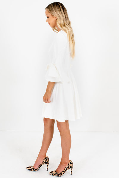 White Pleated Flare Bow Sleeve Mini Dresses for Women