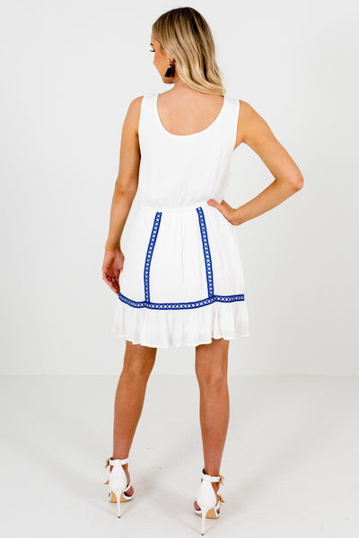 Women's White and Blue Tank Style Boutique Mini Dress