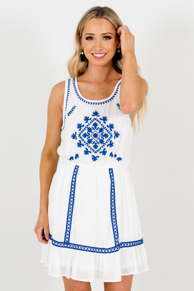 White and Cobalt Blue Embroidered Mini Dresses for Women