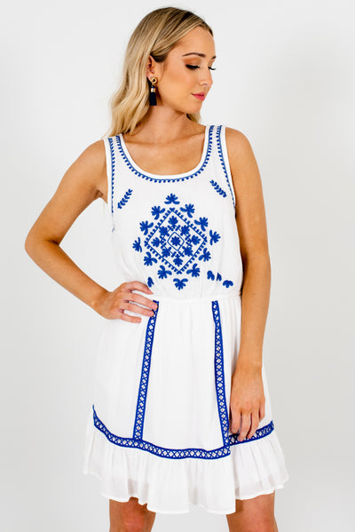 Women's White and Cobalt Blue Fully Lined Boutique Mini Dress