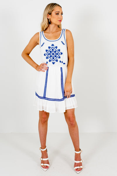 White and Cobalt Blue Cute and Comfortable Boutique Mini Dresses for Women