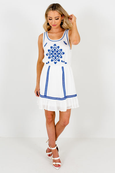 Women's White and Cobalt Blue Spring and Summertime Boutique Clothing