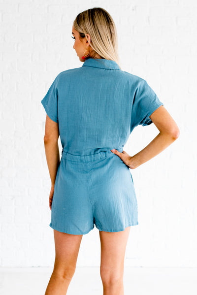 Women's Blue Drawstring Waistband Boutique Rompers