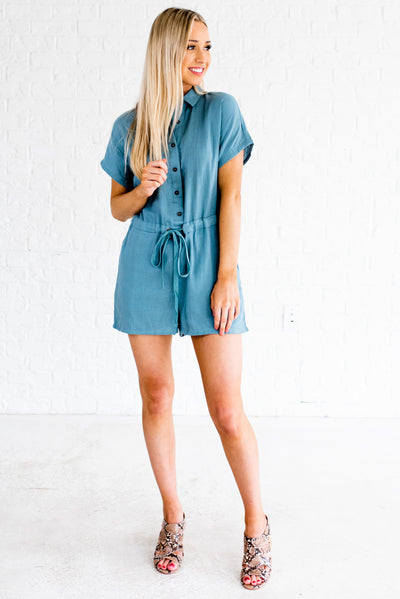 Blue Cute and Comfortable Boutique Rompers with Pockets for Women