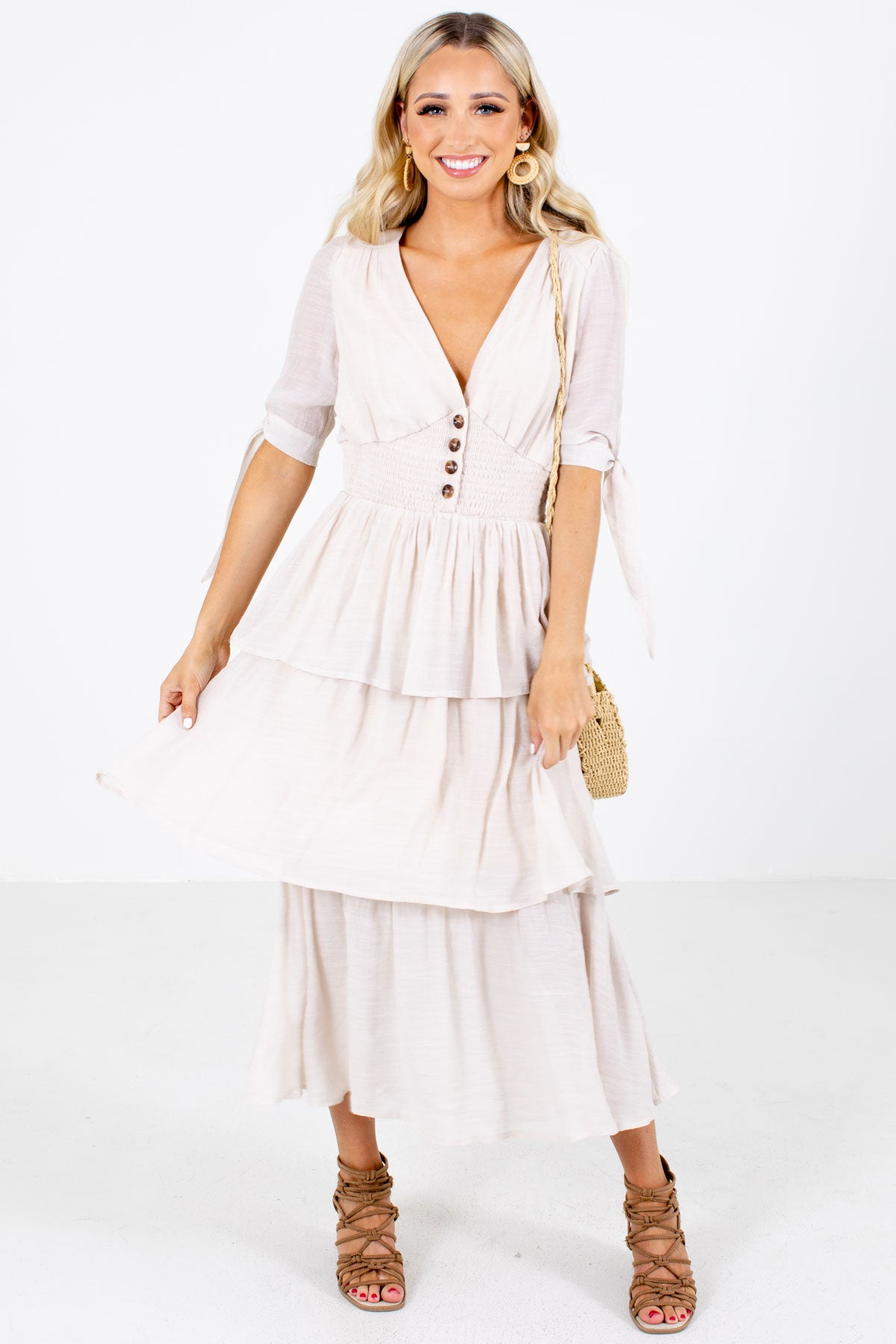 Beige Ruffle Detailed Boutique Maxi Dresses for Women