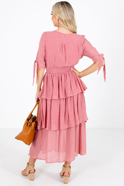 Women's Pink Smocked Boutique Maxi Dress