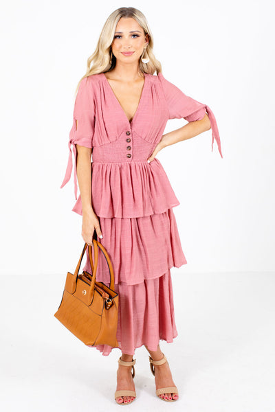 Pink Self-Tie Sleeve Boutique Maxi Dresses for Women
