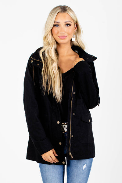 Black Boutique Jacket with Pockets for Women