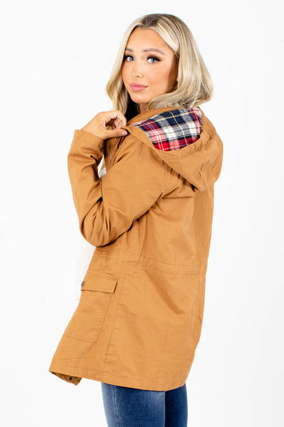 Women's Camel Brown Button-Up Front Boutique Jacket