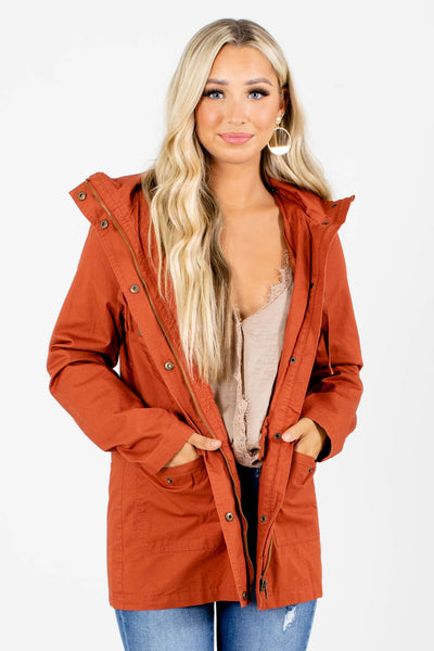 Rust Orange Cute and Comfortable Boutique Jackets for Women