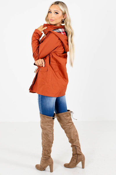 Women's Rust Orange Cozy and Warm Boutique Jacket