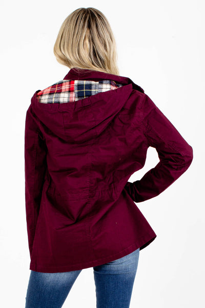 Women's Wine Purple Button-Up Front Boutique Jacket