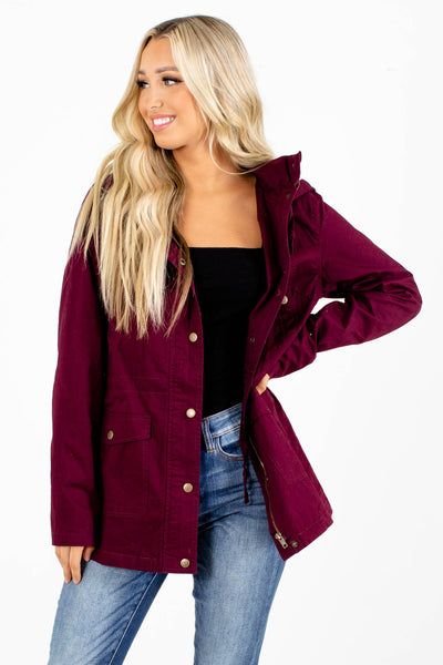 Wine Purple Cute Boutique Outerwear for Women