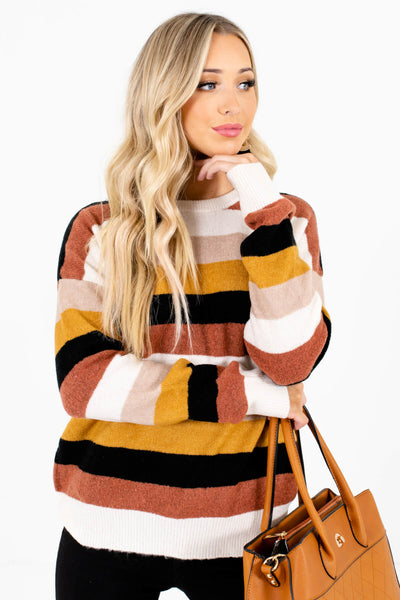 Cream Striped Warm and Cozy Boutique Sweaters for Women
