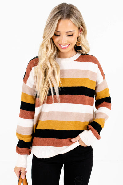 Women's Cream Long Sleeve Boutique Sweaters