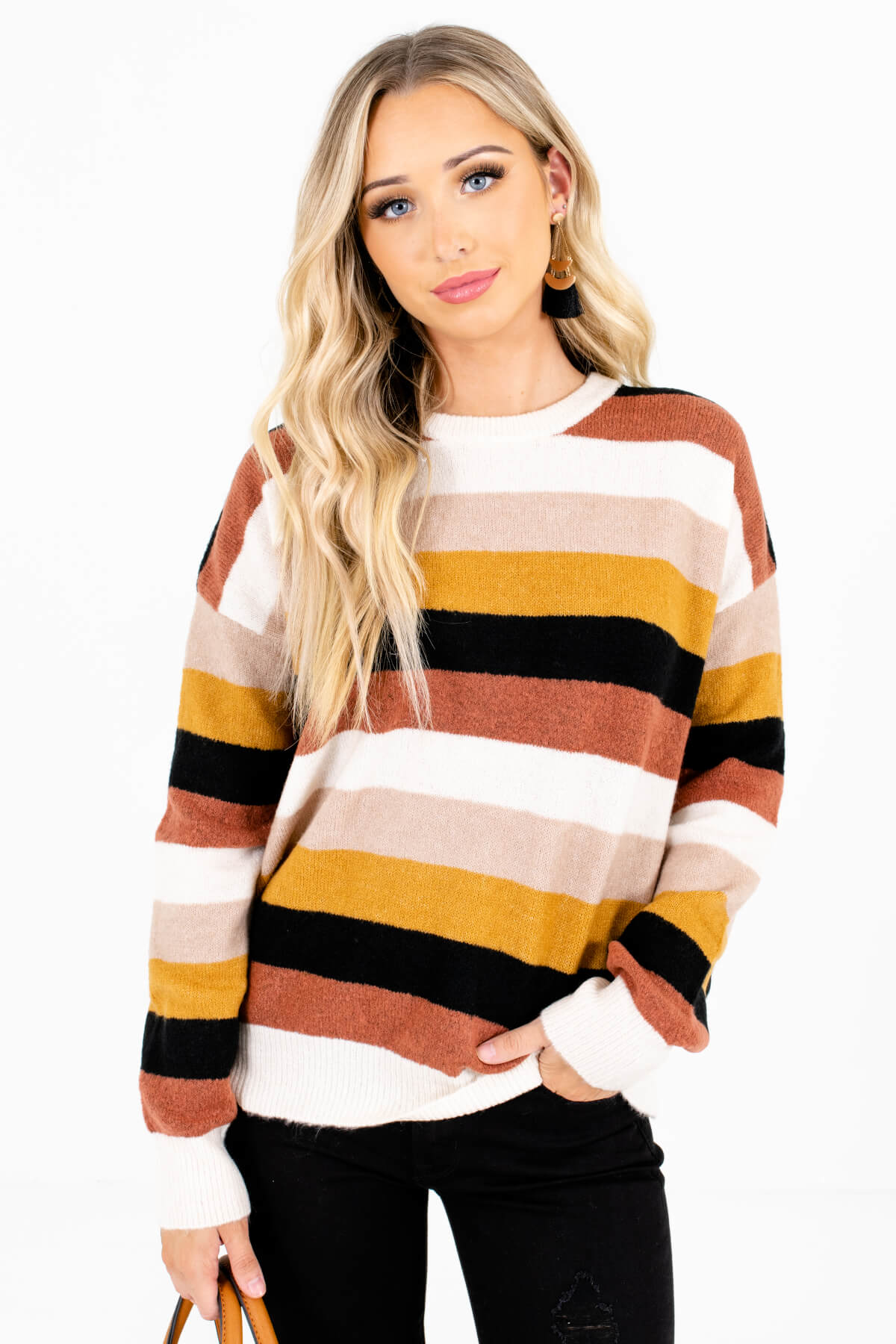 Cream Multi Stripe Patterned Boutique Sweaters for Women