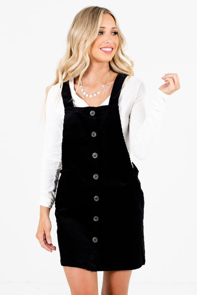 Black Corduroy Material Boutique Mini Dresses for Women