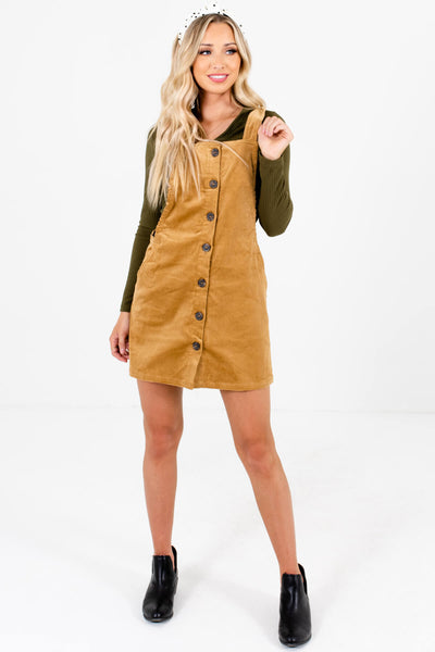 Camel Brown Straight Silhouette Boutique Mini Dresses for Women