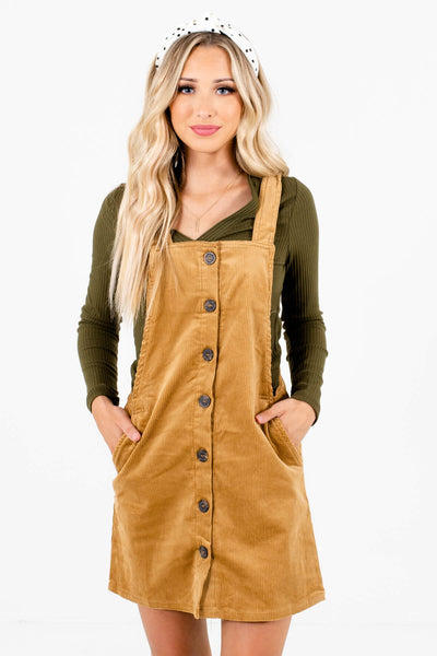 Camel Brown Boutique Mini Dresses with Pockets for Women