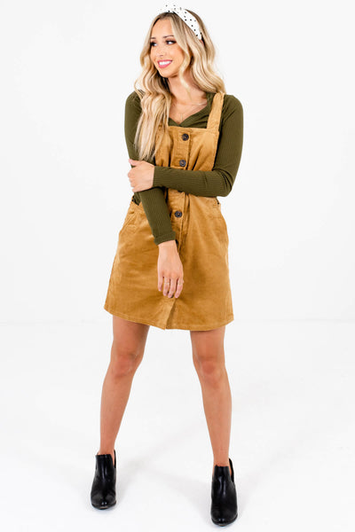 Women's Camel Brown High-Quality Lightweight Material Boutique Mini Dress