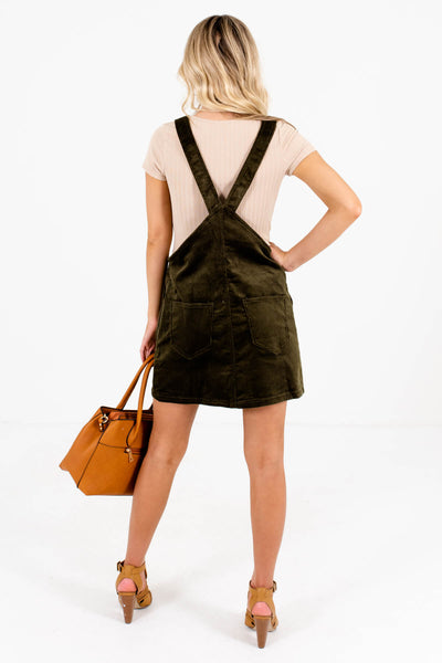 Women's Olive Green Button-Up Front Boutique Mini Dress
