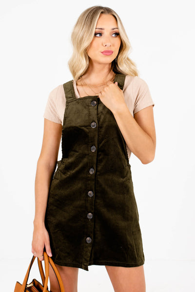 Women's Olive Green Criss Cross Back Boutique Mini Dress